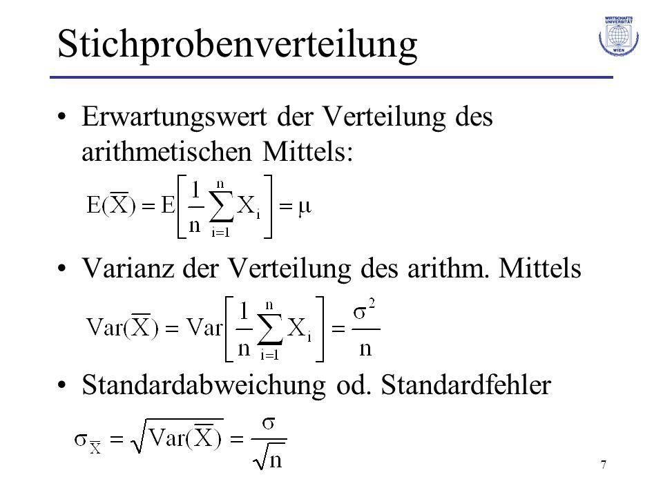 7 Stichprobenverteilung Erwartungswert der Verteilung des arithmetischen Mittels: Varianz der Verteilung des arithm. Mittels Standardabweichung od. St