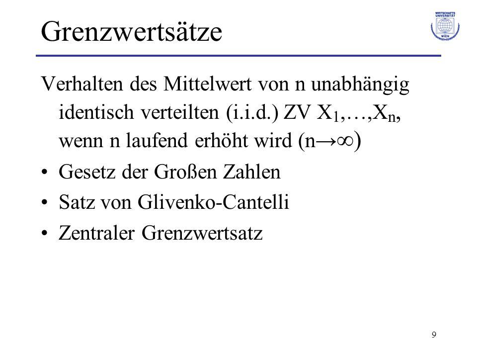 9 Grenzwertsätze Verhalten des Mittelwert von n unabhängig identisch verteilten (i.i.d.) ZV X 1,…,X n, wenn n laufend erhöht wird (n ) Gesetz der Groß