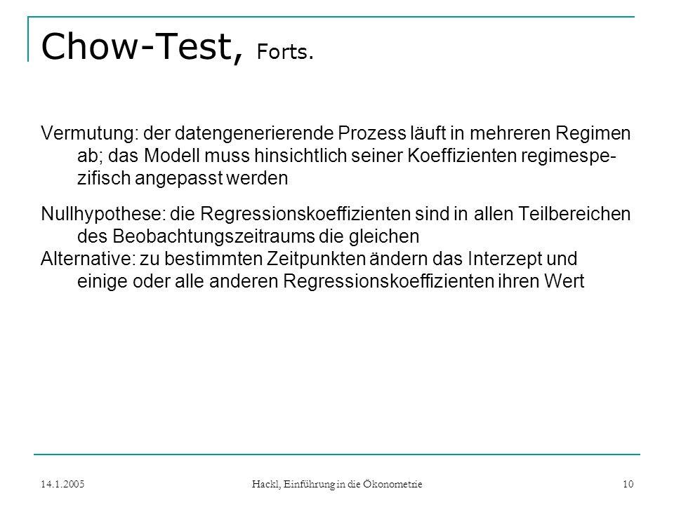 14.1.2005 Hackl, Einführung in die Ökonometrie 10 Chow-Test, Forts.