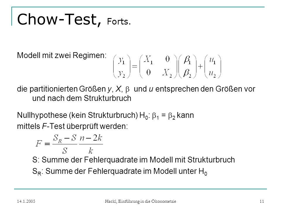 14.1.2005 Hackl, Einführung in die Ökonometrie 11 Chow-Test, Forts.