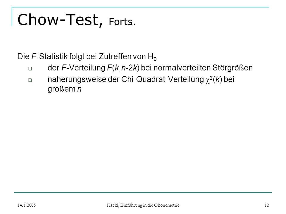 14.1.2005 Hackl, Einführung in die Ökonometrie 12 Chow-Test, Forts.