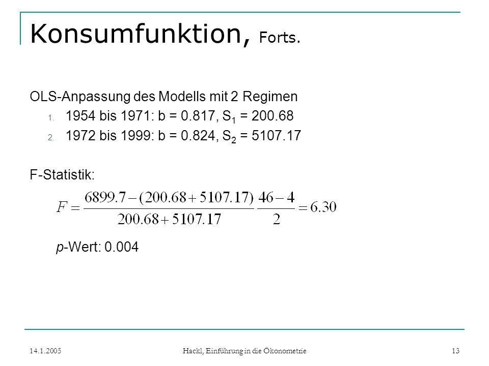 14.1.2005 Hackl, Einführung in die Ökonometrie 13 Konsumfunktion, Forts.