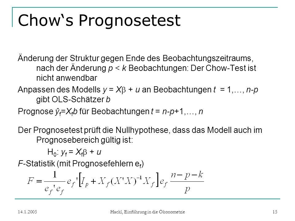 14.1.2005 Hackl, Einführung in die Ökonometrie 15 Chows Prognosetest Änderung der Struktur gegen Ende des Beobachtungszeitraums, nach der Änderung p < k Beobachtungen: Der Chow-Test ist nicht anwendbar Anpassen des Modells y = X + u an Beobachtungen t = 1,…, n-p gibt OLS-Schätzer b Prognose ŷ f =X f b für Beobachtungen t = n-p+1,…, n Der Prognosetest prüft die Nullhypothese, dass das Modell auch im Prognosebereich gültig ist: H 0 : y f = X f + u F-Statistik (mit Prognosefehlern e f )