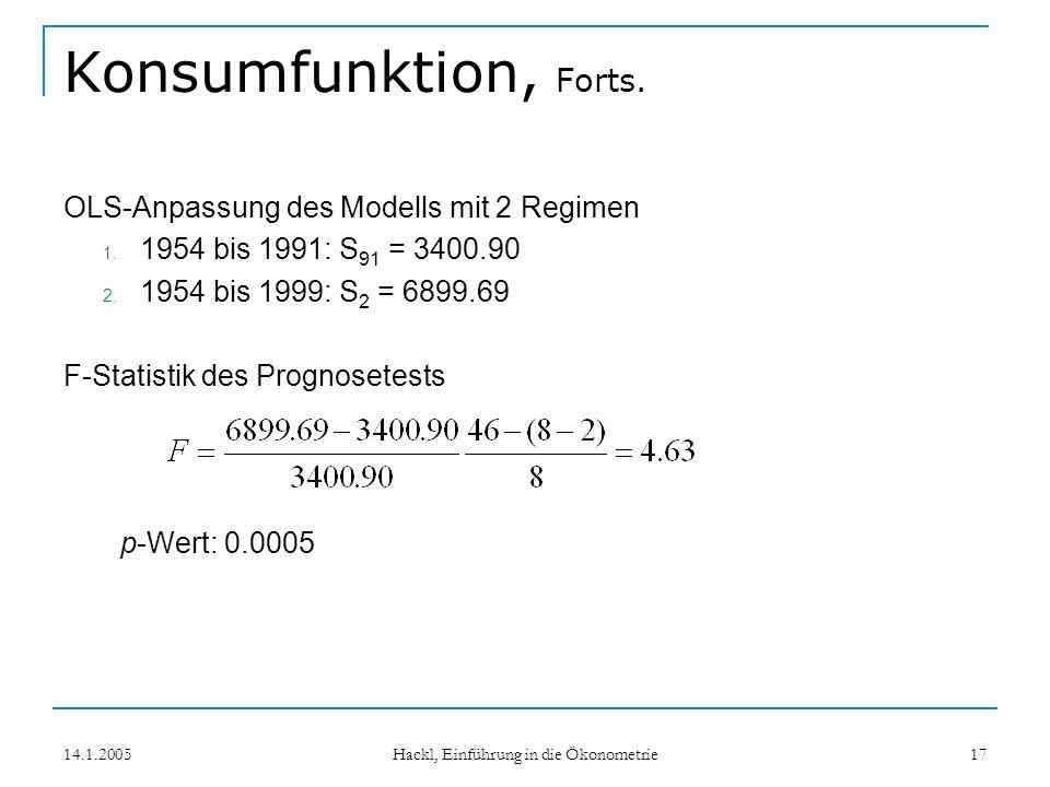 14.1.2005 Hackl, Einführung in die Ökonometrie 17 Konsumfunktion, Forts.