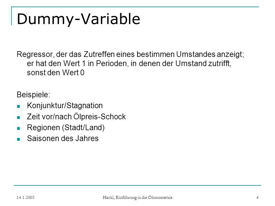 14.1.2005 Hackl, Einführung in die Ökonometrie 5 Dummy-Variable für Saisonen Für die Saisonen sind definiert: Frühlings-Dummy Q 1t hat den Wert 1 in jedem ersten Quartal; analog das Sommer-Dummy (i = 2), etc.