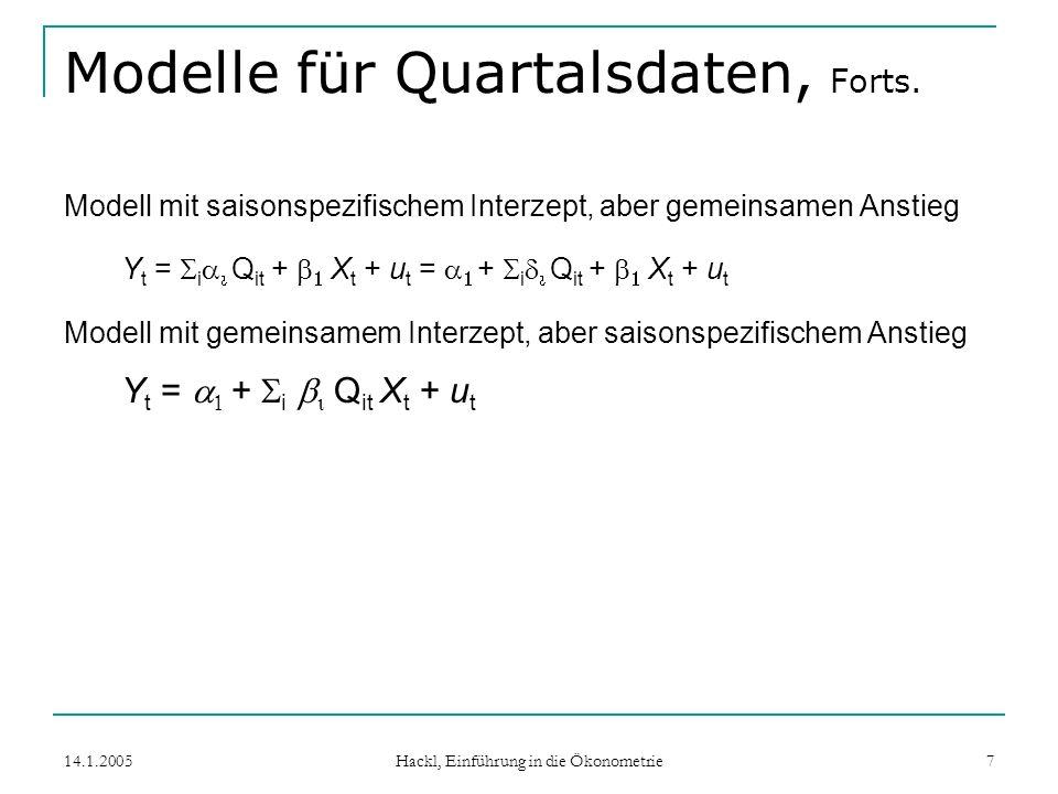 14.1.2005 Hackl, Einführung in die Ökonometrie 18 Rekursive Residuen Modell y = X + u Rekursive Residuen sind definiert als 1-Schritt Prognosefehler: b t ist OLS-Schätzer von b auf Basis der Beobachtungen {(x i, Y i ), i=1,...,t} Der (n-k)-Vektor w folgt (bei normalverteilten Störgrößen) w ~ N(0, 2 I) Gut geeignet für Konstruktion von Tests zur Struktursta- bilität