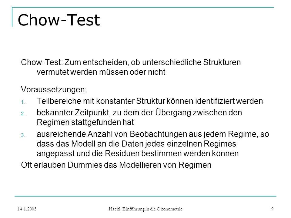 14.1.2005 Hackl, Einführung in die Ökonometrie 9 Chow-Test Chow-Test: Zum entscheiden, ob unterschiedliche Strukturen vermutet werden müssen oder nicht Voraussetzungen: 1.