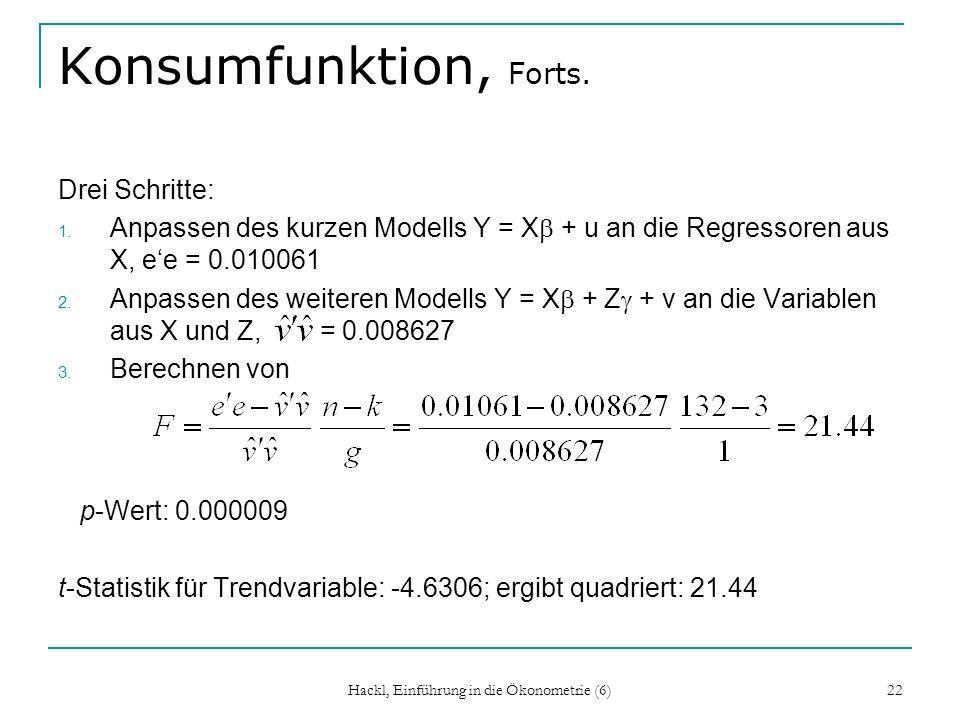 Hackl, Einführung in die Ökonometrie (6) 22 Konsumfunktion, Forts. Drei Schritte: 1. Anpassen des kurzen Modells Y = X + u an die Regressoren aus X, e