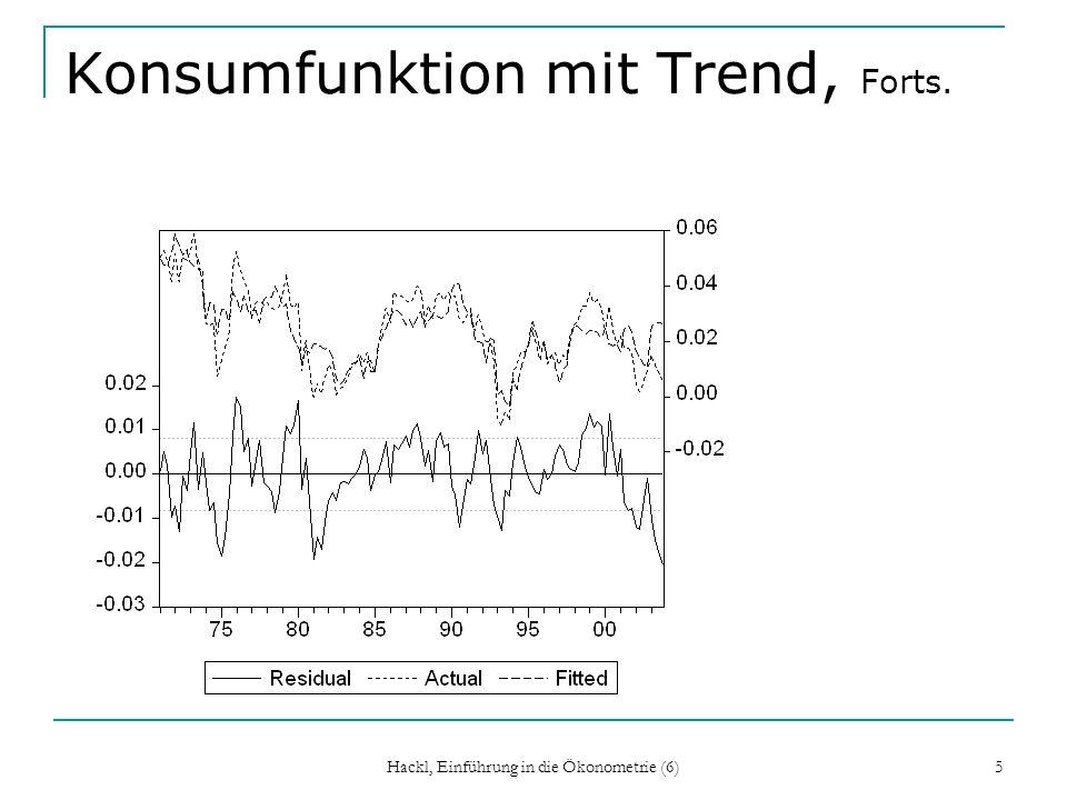 Hackl, Einführung in die Ökonometrie (6) 16 Konsumfunktion mit Trend, Forts.