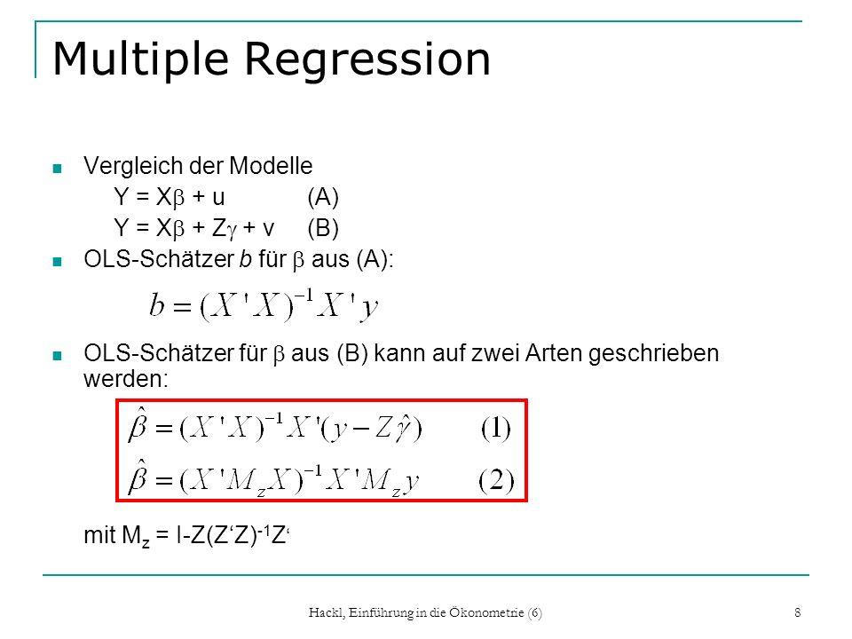 Hackl, Einführung in die Ökonometrie (6) 8 Multiple Regression Vergleich der Modelle Y = X + u(A) Y = X + Z + v(B) OLS-Schätzer b für aus (A): OLS-Sch