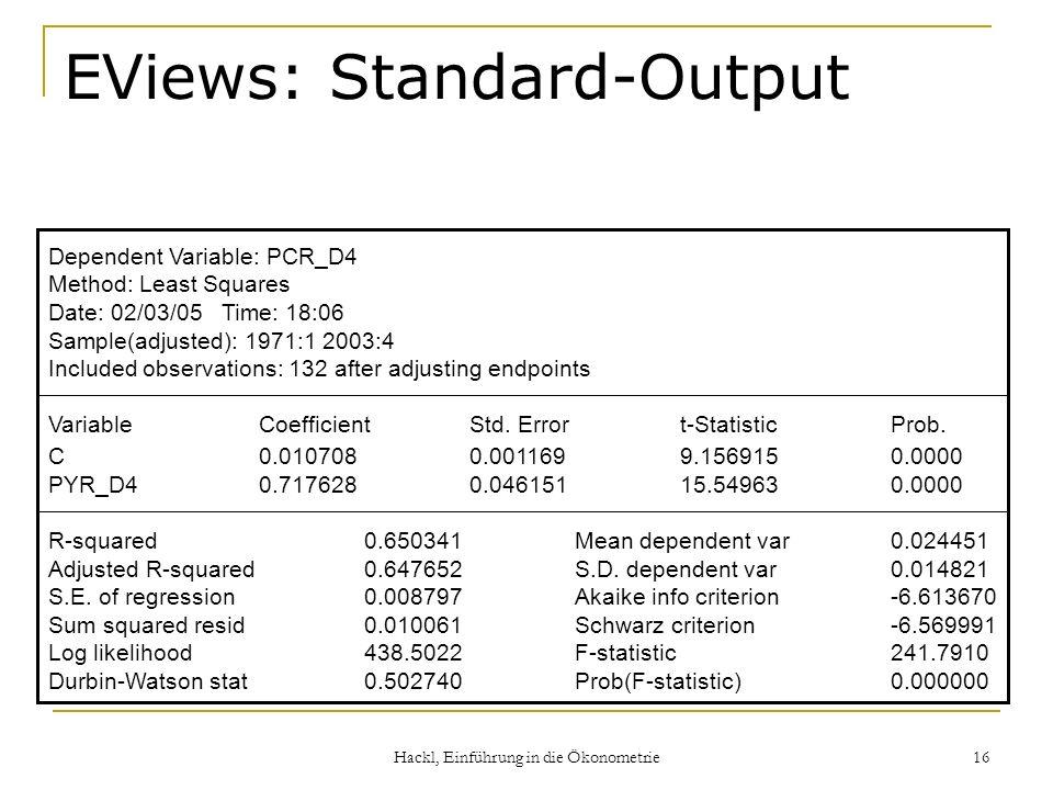 Hackl, Einführung in die Ökonometrie 16 EViews: Standard-Output Dependent Variable: PCR_D4 Method: Least Squares Date: 02/03/05 Time: 18:06 Sample(adj