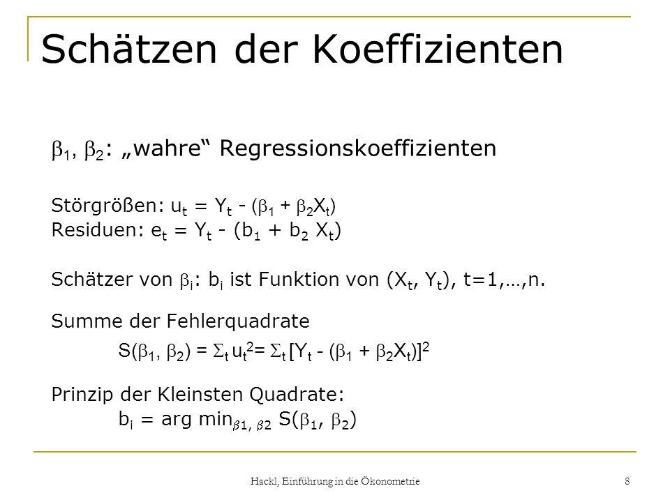Hackl, Einführung in die Ökonometrie 8 Schätzen der Koeffizienten 1, 2 : wahre Regressionskoeffizienten Störgrößen: u t = Y t - ( 1 + 2 X t ) Residuen