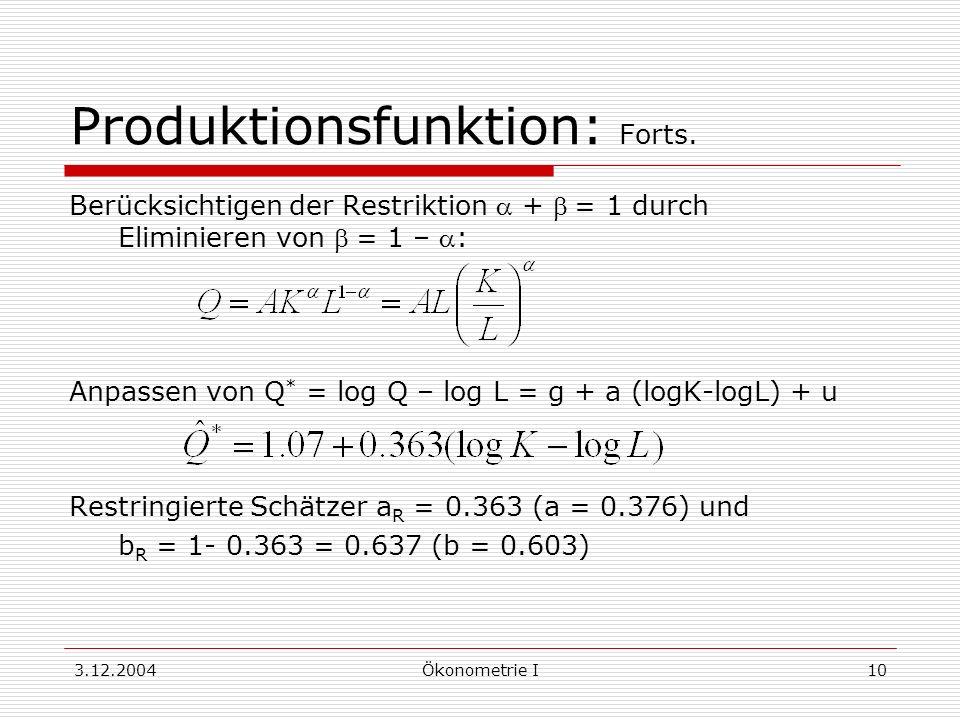 3.12.2004Ökonometrie I10 Produktionsfunktion: Forts. Berücksichtigen der Restriktion + = 1 durch Eliminieren von = 1 – : Anpassen von Q * = log Q – lo
