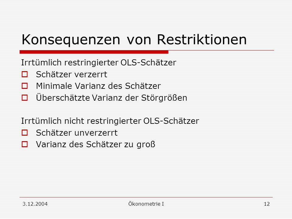 3.12.2004Ökonometrie I12 Konsequenzen von Restriktionen Irrtümlich restringierter OLS-Schätzer Schätzer verzerrt Minimale Varianz des Schätzer Übersch