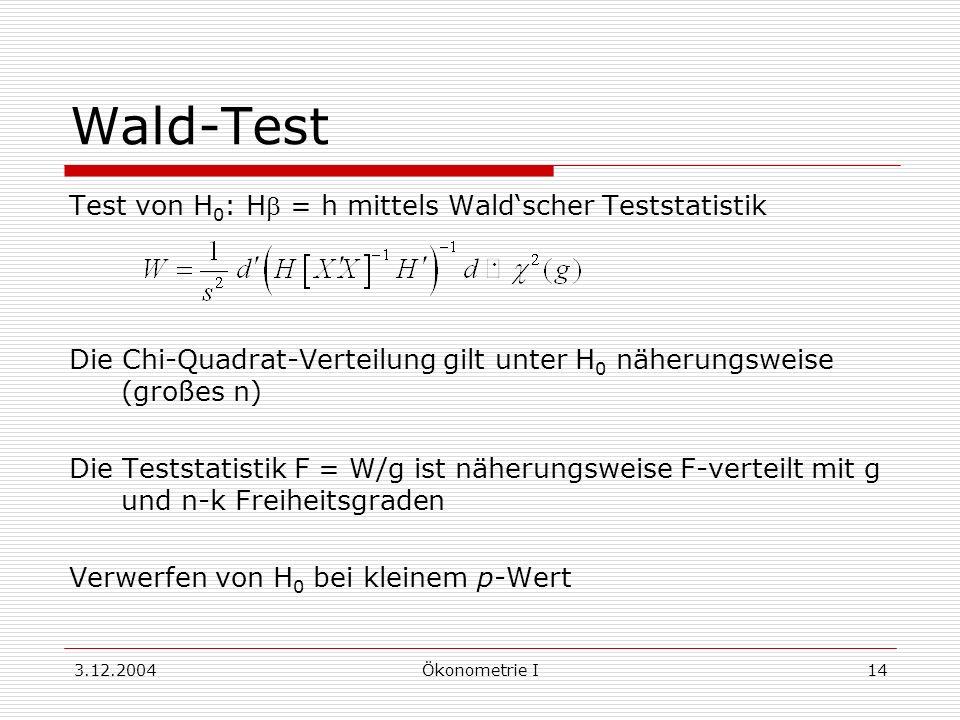 3.12.2004Ökonometrie I14 Wald-Test Test von H 0 : H = h mittels Waldscher Teststatistik Die Chi-Quadrat-Verteilung gilt unter H 0 näherungsweise (groß