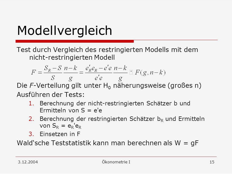 3.12.2004Ökonometrie I15 Modellvergleich Test durch Vergleich des restringierten Modells mit dem nicht-restringierten Modell Die F-Verteilung gilt unt