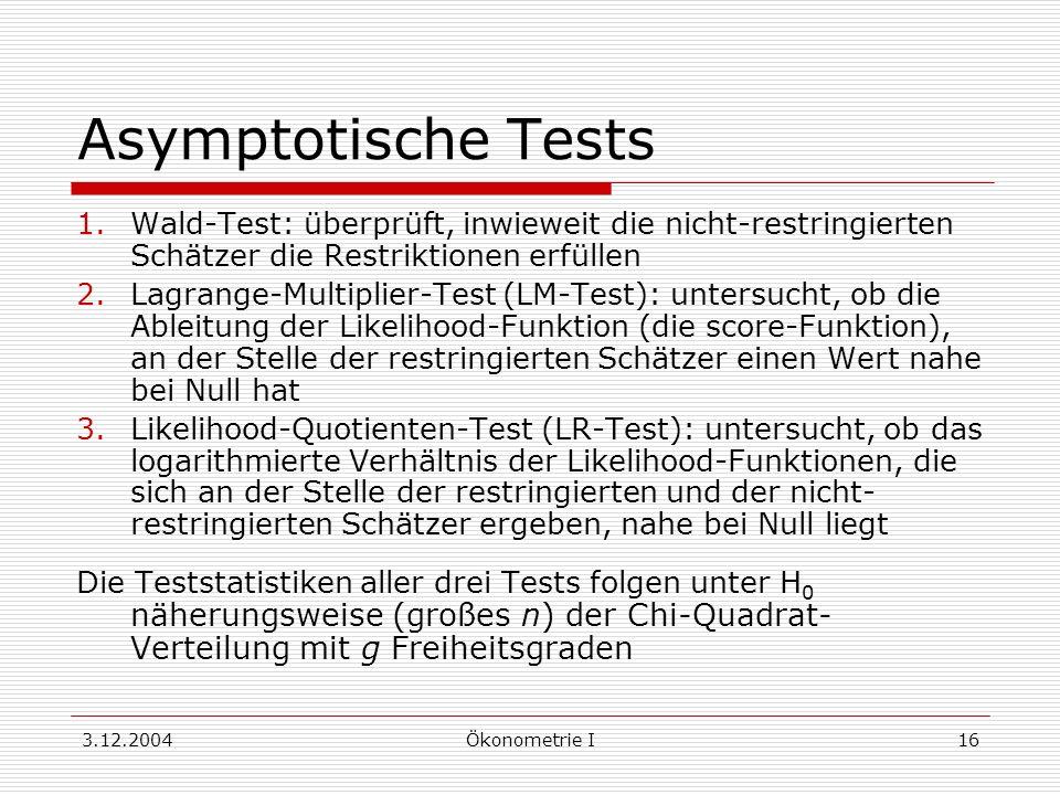 3.12.2004Ökonometrie I16 Asymptotische Tests 1.Wald-Test: überprüft, inwieweit die nicht-restringierten Schätzer die Restriktionen erfüllen 2.Lagrange