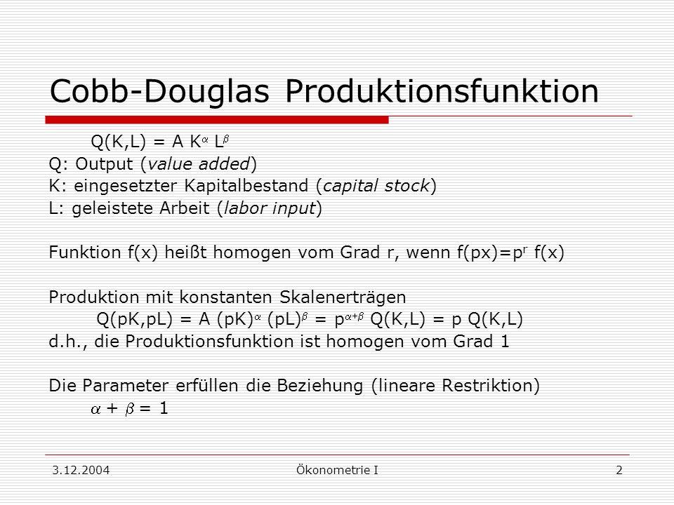 3.12.2004Ökonometrie I2 Cobb-Douglas Produktionsfunktion Q(K,L) = A K L Q: Output (value added) K: eingesetzter Kapitalbestand (capital stock) L: gele