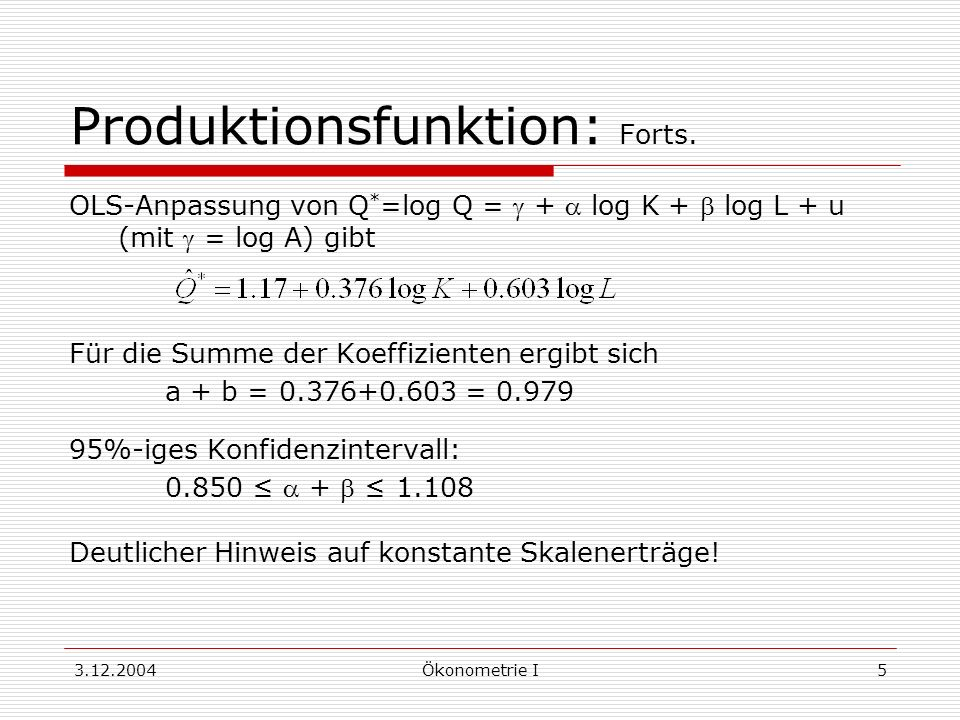 3.12.2004Ökonometrie I6 Lineare Restriktionen: Notation Spezifiziertes Modell: y = X + u g lineare Restriktion: H= h H hat Ordnung g x k, h ist g-Vektor