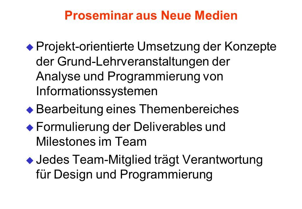 Proseminar aus Neue Medien u Projekt-orientierte Umsetzung der Konzepte der Grund-Lehrveranstaltungen der Analyse und Programmierung von Informationss