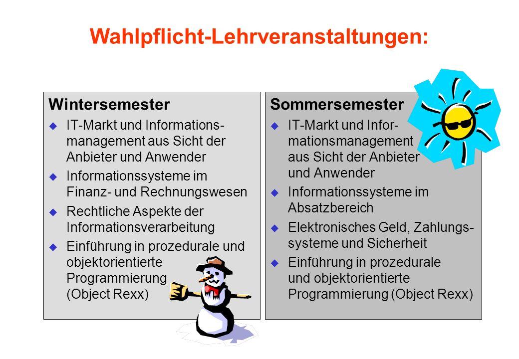 Wahlpflicht-Lehrveranstaltungen: Wintersemester u IT-Markt und Informations- management aus Sicht der Anbieter und Anwender u Informationssysteme im F