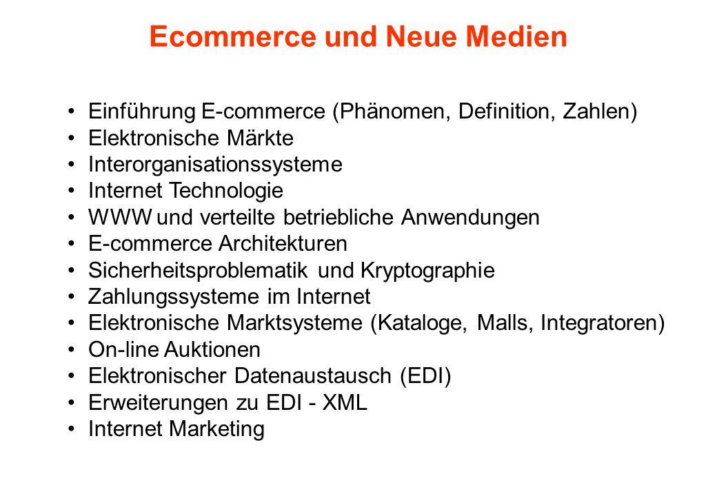 Ecommerce und Neue Medien Einführung E-commerce (Phänomen, Definition, Zahlen) Elektronische Märkte Interorganisationssysteme Internet Technologie WWW