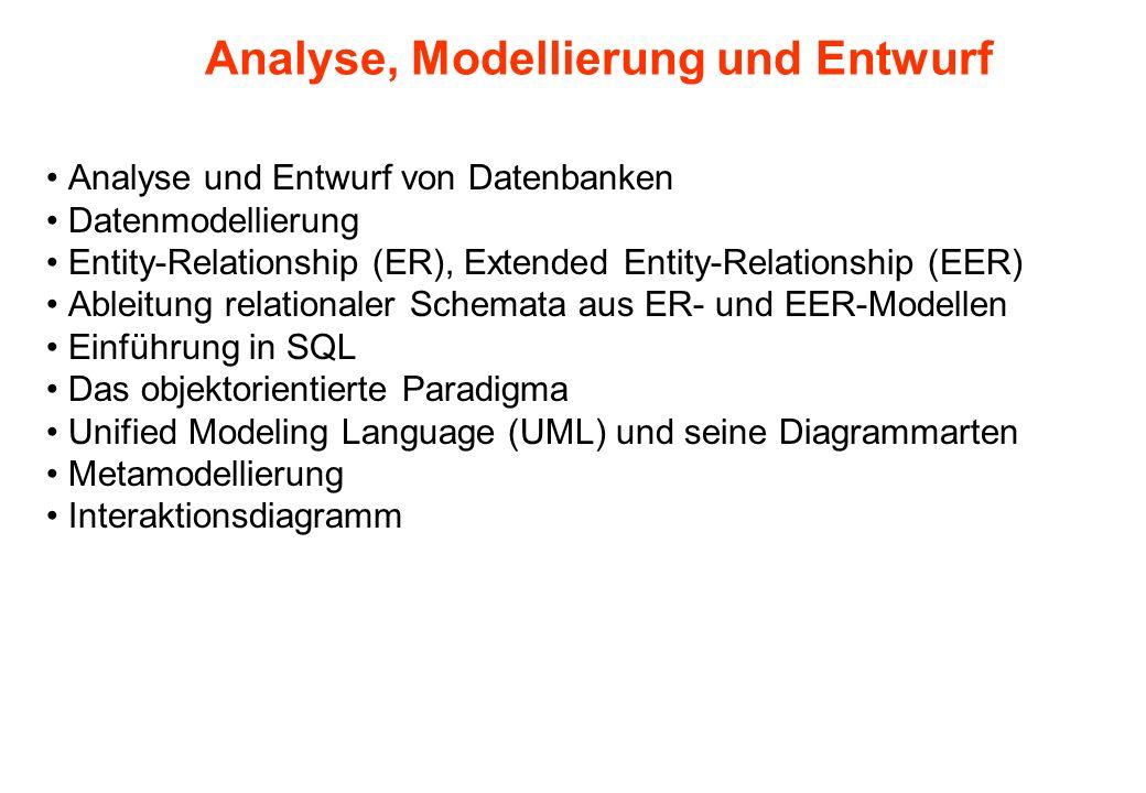 Analyse, Modellierung und Entwurf Analyse und Entwurf von Datenbanken Datenmodellierung Entity-Relationship (ER), Extended Entity-Relationship (EER) A