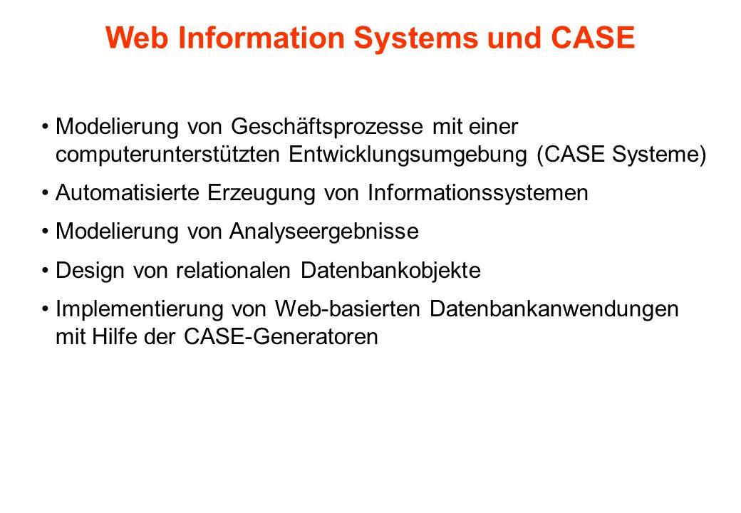 Web Information Systems und CASE Modelierung von Geschäftsprozesse mit einer computerunterstützten Entwicklungsumgebung (CASE Systeme) Automatisierte