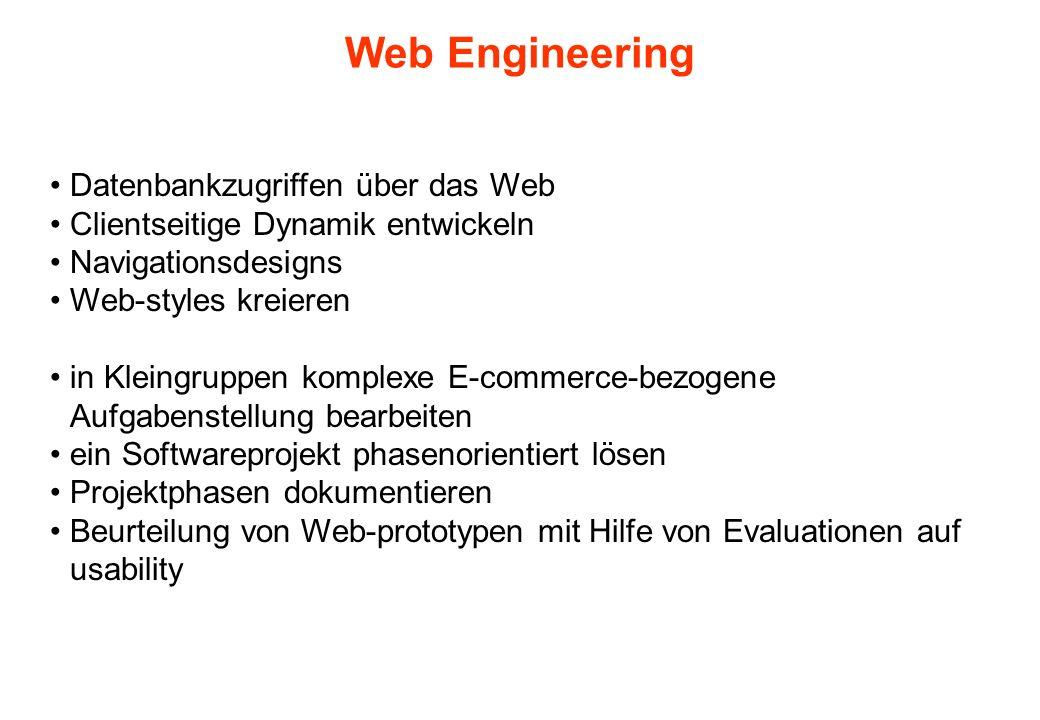 Web Engineering Datenbankzugriffen über das Web Clientseitige Dynamik entwickeln Navigationsdesigns Web-styles kreieren in Kleingruppen komplexe E-com