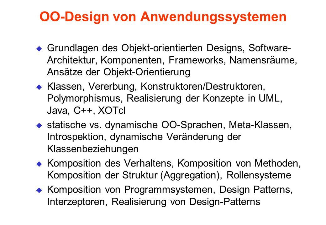 OO-Design von Anwendungssystemen u Grundlagen des Objekt-orientierten Designs, Software- Architektur, Komponenten, Frameworks, Namensräume, Ansätze de