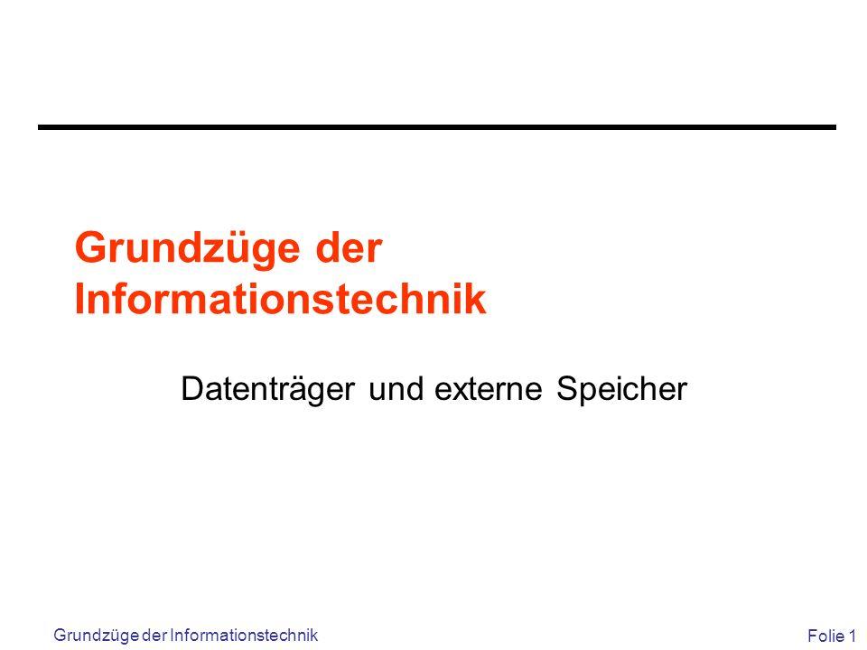 Folie 1 Grundzüge der Informationstechnik Datenträger und externe Speicher