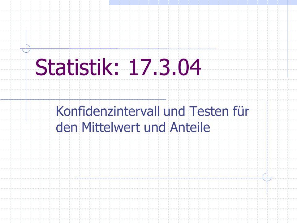 17.3.04PI Statistik, SS 2004 (8)2 Schließende Statistik oder Statistische Inferenz: Rückschluss aus den Ergebnissen einer Zufallsstichprobe auf die Grundgesamtheit oder ihre Parameter (, p, etc.) Das Schätzen von Parametern: für den unbekann- ten Wert eines Parameters (, p, etc.) ist zu bestimmen ein numerischer Wert (Punktschätzer) oder ein Intervall, in dem der unbekannte Wert mit vorgegebener Wahrscheinlichkeit enthalten ist (Konfidenzintervall) Entscheidung zwischen Behauptungen (Hypothesen)