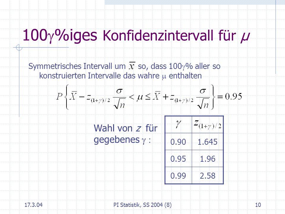 17.3.04PI Statistik, SS 2004 (8)11 Wahl des Stichprobenumfanges Halbe Länge c des Konfidenzintervalls hängt ab von n, und Bei Vorgabe von c und kann n berechnet werden: n =(z (1+ )/2 σ/c) 2