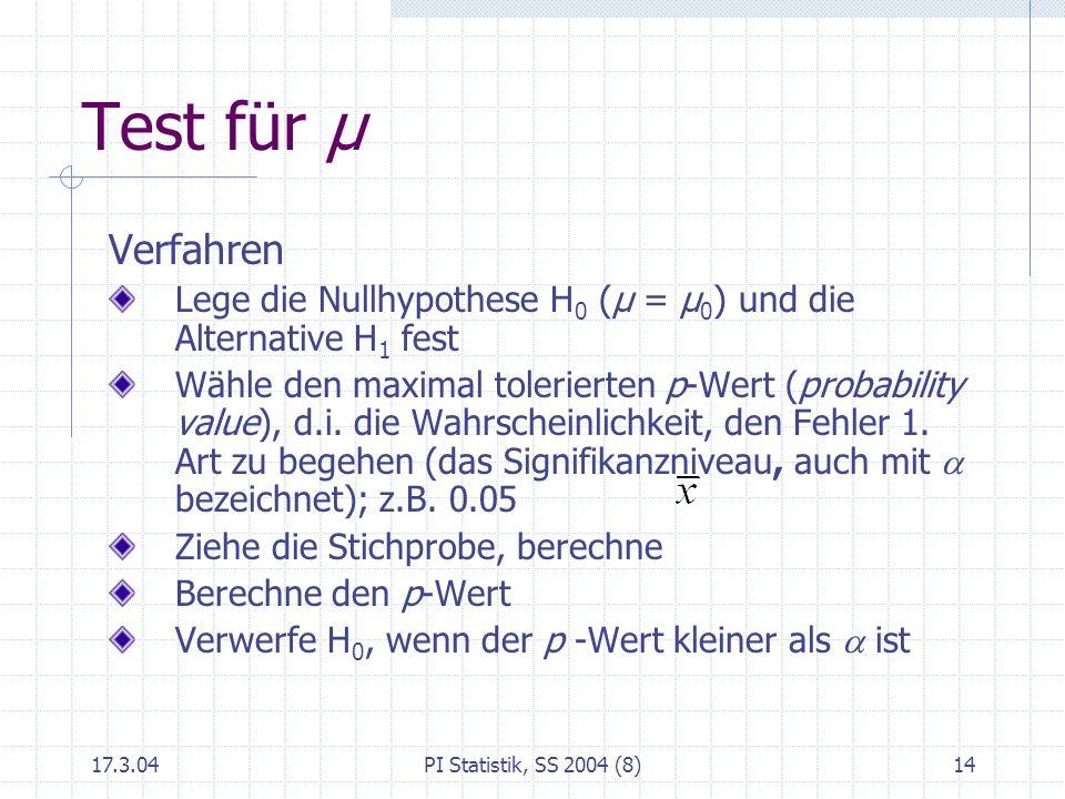17.3.04PI Statistik, SS 2004 (8)14 Test für μ Verfahren Lege die Nullhypothese H 0 (μ = μ 0 ) und die Alternative H 1 fest Wähle den maximal toleriert