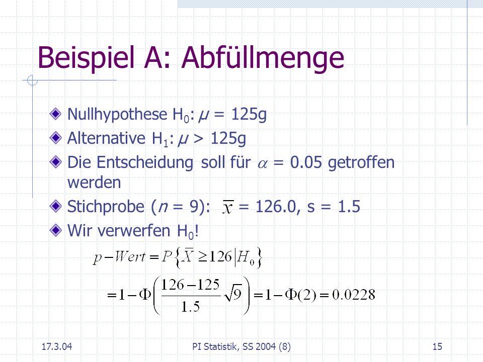 17.3.04PI Statistik, SS 2004 (8)15 Beispiel A: Abfüllmenge Nullhypothese H 0 : μ = 125g Alternative H 1 : μ > 125g Die Entscheidung soll für = 0.05 ge