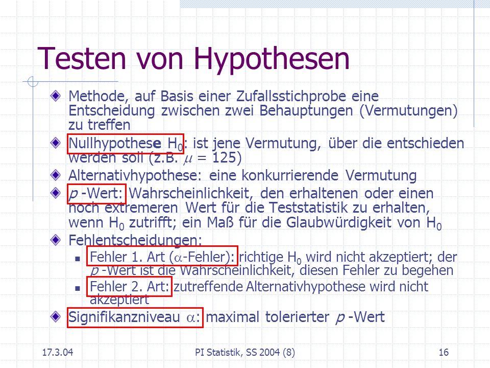 17.3.04PI Statistik, SS 2004 (8)17 Wahl der Alternativhypothese Das, was ich beweisen möchte Beispiel: Abfüllmenge; H 0 : =125g Konsumentenschützer möchte erkennen, wenn <125g; er möchte ziemlich sicher sein, dass er recht hat, wenn er <125gbehauptet Test mit Signifikanzniveau =0.05: er irrt höchstens in 5 von 100 Entscheidungen Analog: Produzent möchte erkennen, wenn >125g oder wenn 125g