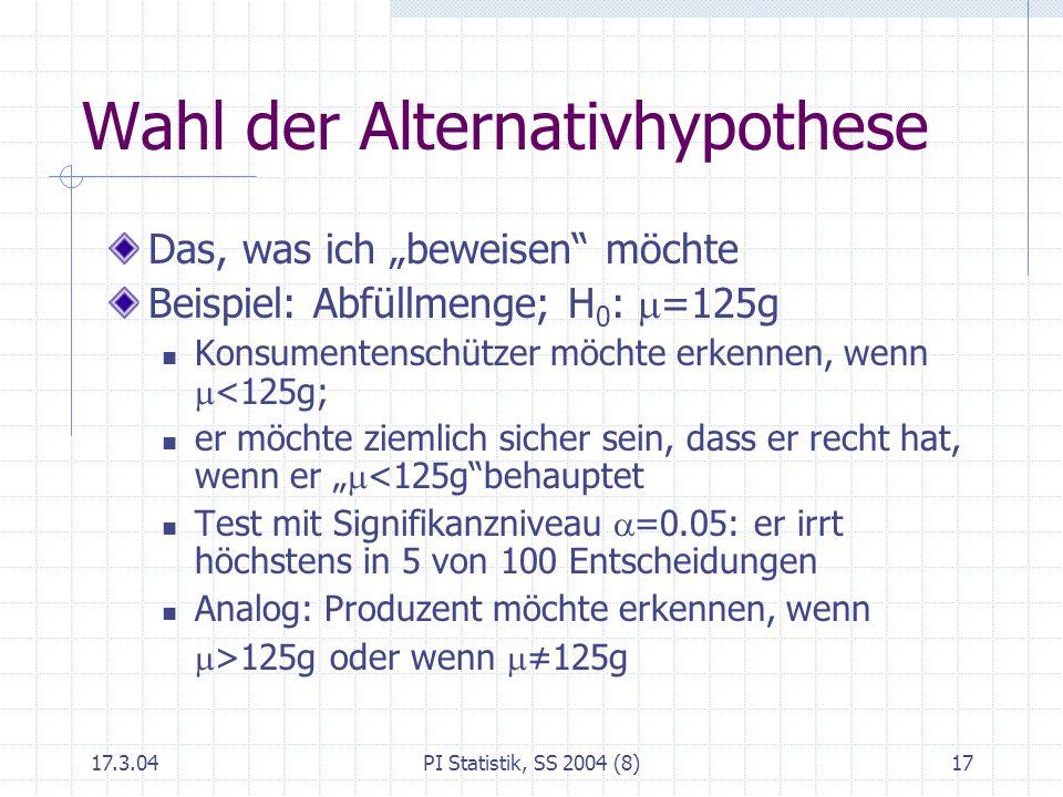 17.3.04PI Statistik, SS 2004 (8)17 Wahl der Alternativhypothese Das, was ich beweisen möchte Beispiel: Abfüllmenge; H 0 : =125g Konsumentenschützer mö