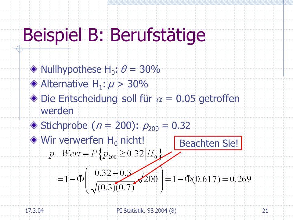 17.3.04PI Statistik, SS 2004 (8)21 Beispiel B: Berufstätige Nullhypothese H 0 : θ = 30% Alternative H 1 : μ > 30% Die Entscheidung soll für = 0.05 get