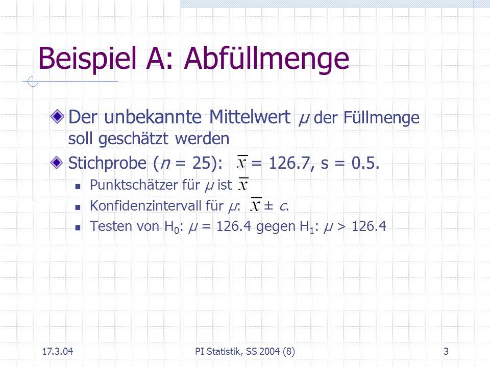17.3.04PI Statistik, SS 2004 (8)4 Beispiel B: Anteil der Berufstätigen unter Studierenden Anteil θ ist unbekannt Stichprobe (n = 200) gibt Anteil von p = 32% Punktschätzer für θ ist p = 0.32 Konfidenzintervall p ± c Testen die Nullhypothese H 0 : θ = 0.20 gegen H 1 : µ > 0.20