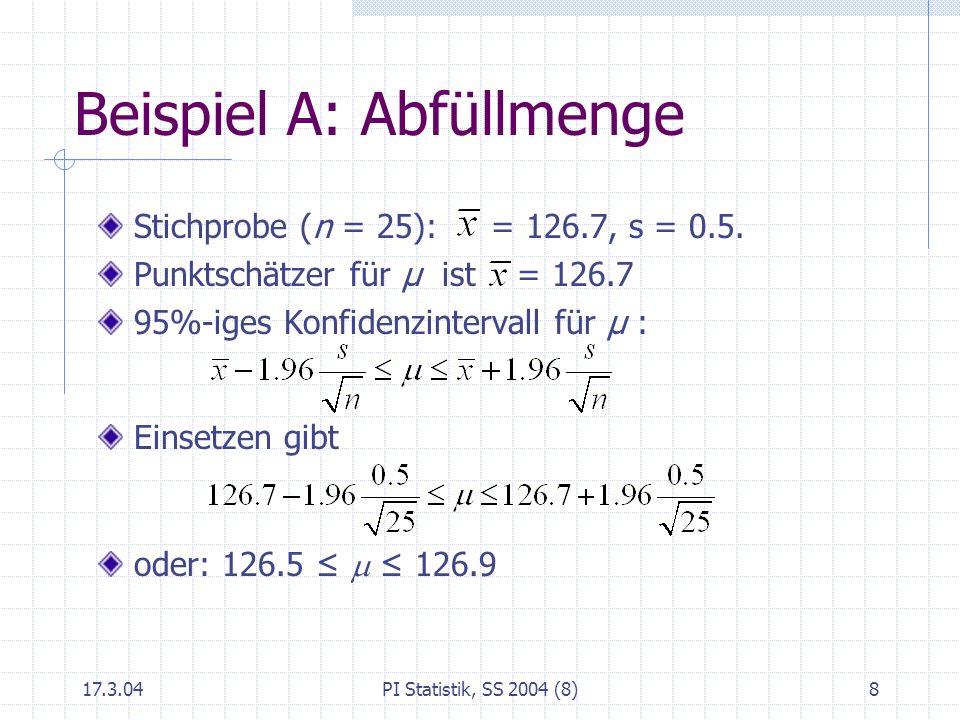 17.3.04PI Statistik, SS 2004 (8)8 Beispiel A: Abfüllmenge Stichprobe (n = 25): = 126.7, s = 0.5. Punktschätzer für μ ist = 126.7 95%-iges Konfidenzint