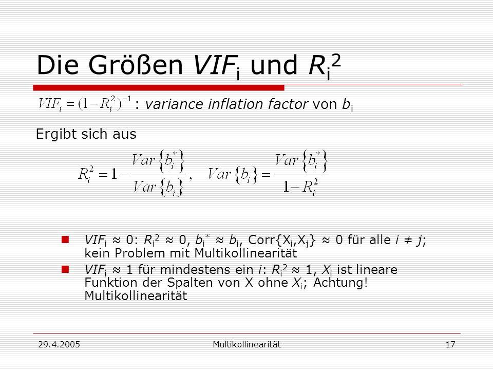 29.4.2005Multikollinearität17 Die Größen VIF i und R i 2 : variance inflation factor von b i Ergibt sich aus VIF i 0: R i 2 0, b i * b i, Corr{X i,X j } 0 für alle i j; kein Problem mit Multikollinearität VIF i 1 für mindestens ein i: R i 2 1, X i ist lineare Funktion der Spalten von X ohne X i ; Achtung.