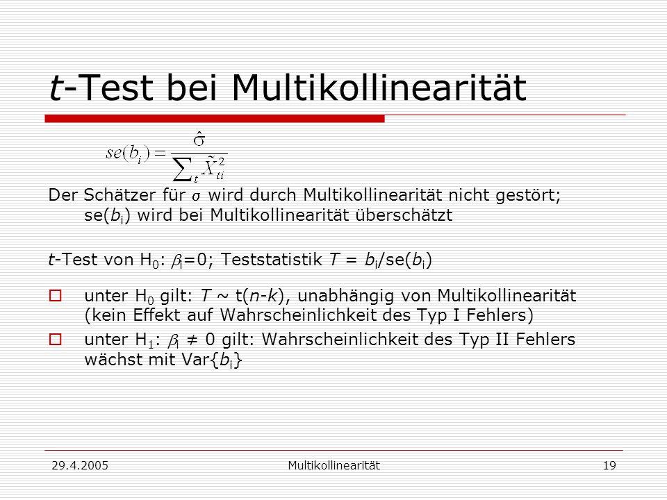29.4.2005Multikollinearität19 t-Test bei Multikollinearität Der Schätzer für wird durch Multikollinearität nicht gestört; se(b i ) wird bei Multikollinearität überschätzt t-Test von H 0 : i =0; Teststatistik T = b i /se(b i ) unter H 0 gilt: T ~ t(n-k), unabhängig von Multikollinearität (kein Effekt auf Wahrscheinlichkeit des Typ I Fehlers) unter H 1 : i 0 gilt: Wahrscheinlichkeit des Typ II Fehlers wächst mit Var{b i }