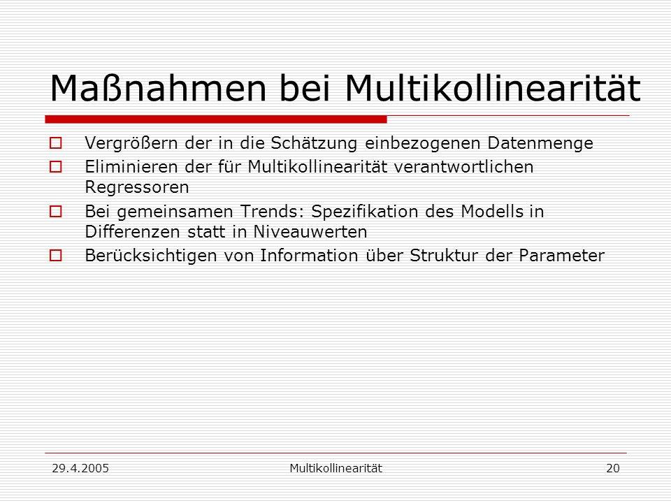 29.4.2005Multikollinearität20 Maßnahmen bei Multikollinearität Vergrößern der in die Schätzung einbezogenen Datenmenge Eliminieren der für Multikollin