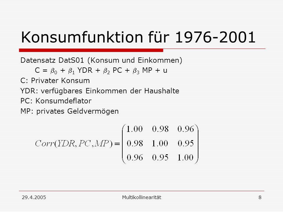 29.4.2005Multikollinearität8 Konsumfunktion für 1976-2001 Datensatz DatS01 (Konsum und Einkommen) C = 0 + 1 YDR + 2 PC + 3 MP + u C: Privater Konsum YDR: verfügbares Einkommen der Haushalte PC: Konsumdeflator MP: privates Geldvermögen