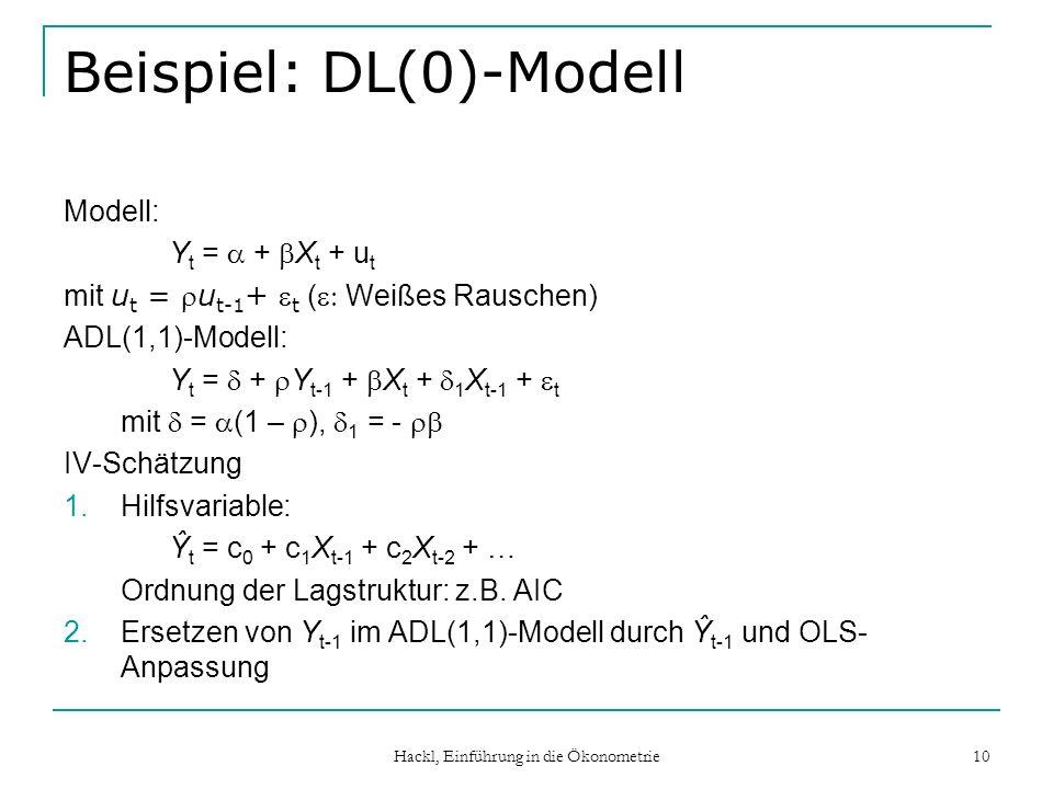 Hackl, Einführung in die Ökonometrie 10 Beispiel: DL(0)-Modell Modell: Y t = + X t + u t mit u t = u t-1 + t ( Weißes Rauschen) ADL(1,1)-Modell: Y t = + Y t-1 + X t + 1 X t-1 + t mit = (1 – ), 1 = - IV-Schätzung 1.Hilfsvariable: Ŷ t = c 0 + c 1 X t-1 + c 2 X t-2 + … Ordnung der Lagstruktur: z.B.