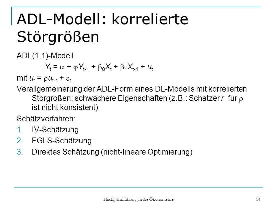 Hackl, Einführung in die Ökonometrie 14 ADL-Modell: korrelierte Störgrößen ADL(1,1)-Modell Y t = + Y t-1 + 0 X t + 1 X t-1 + u t mit u t = u t-1 + t Verallgemeinerung der ADL-Form eines DL-Modells mit korrelierten Störgrößen; schwächere Eigenschaften (z.B.: Schätzer r für ist nicht konsistent) Schätzverfahren: 1.IV-Schätzung 2.FGLS-Schätzung 3.Direktes Schätzung (nicht-lineare Optimierung)