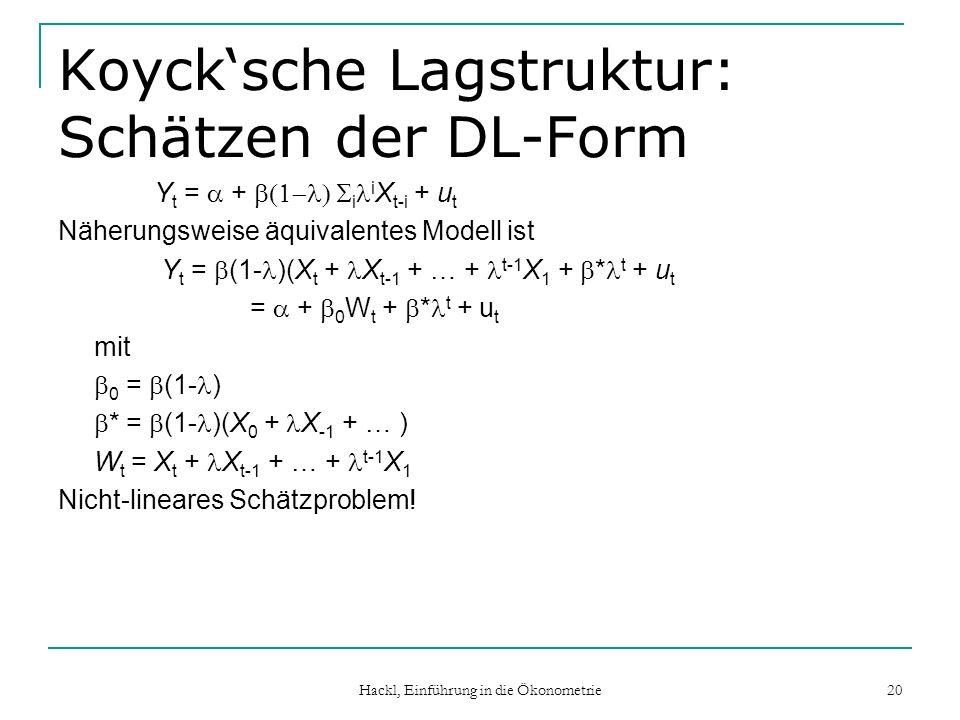 Hackl, Einführung in die Ökonometrie 20 Koycksche Lagstruktur: Schätzen der DL-Form Y t = + i i X t-i + u t Näherungsweise äquivalentes Modell ist Y t = (1- )(X t + X t-1 + … + t-1 X 1 + * t + u t = + 0 W t + * t + u t mit 0 = (1- ) * = (1- )(X 0 + X -1 + … ) W t = X t + X t-1 + … + t-1 X 1 Nicht-lineares Schätzproblem!