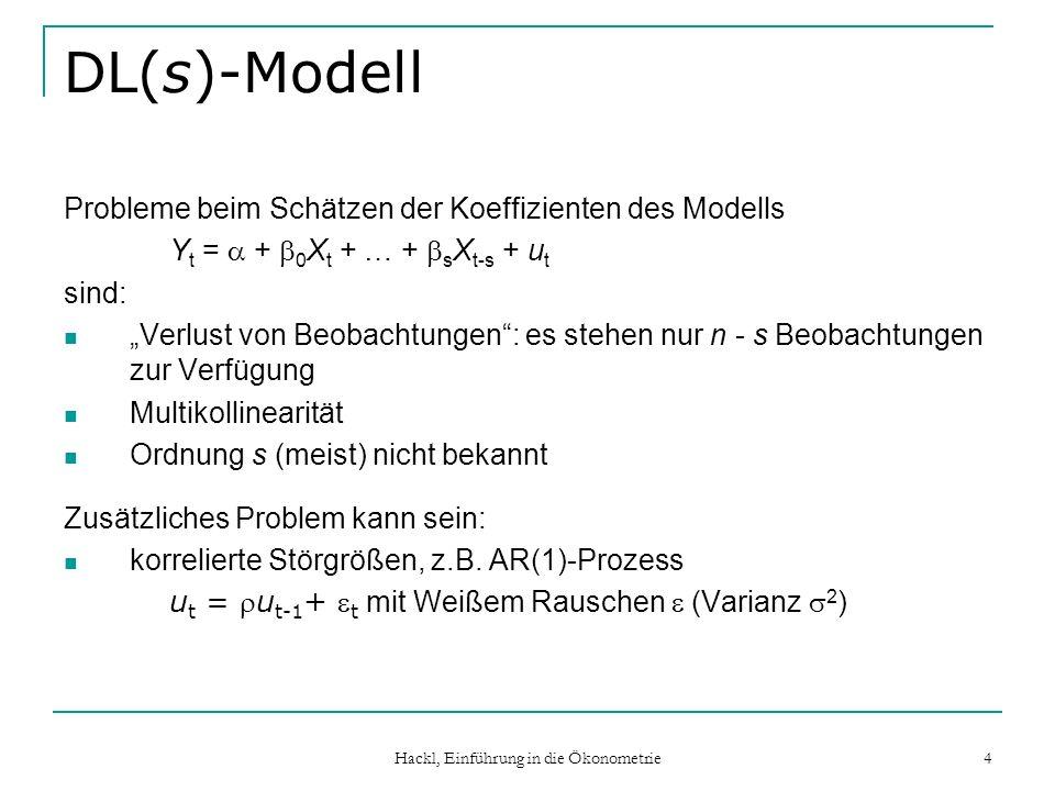 Hackl, Einführung in die Ökonometrie 5 DL(s)-Modell mit korrelierten Störgrößen Modell: Y t = + 0 X t + … + s X t-s + u t mit u t = u t-1 + t ( : Weißes Rauschen) Alternative Darstellungen (mit Störgrößen ) ADL-Form Y t = + Y t-1 + 0 X t + … + s+1 X t-s-1 + t mit = (1 – ), 0 = 0, 1 = 1 – 0, …, s+1 = – s ADL(1,s+1)-Modell Modell in Quasi-Differenzen: Y* t = + 0 X* t + … + s X* t-s + t mit Y* t = Y t – Y t-1, X* t = X t – X t-1