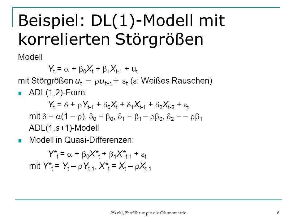 Hackl, Einführung in die Ökonometrie 7 Beispiel: Konsumfunktion Datensatz DatS04: Konsum und Einkommen für Österreich (1976:1 bis 1995:2) In logarithmierten Differenzen: Ĉ = 0.009 + 0.621Y mit t(Y) = 5.94, adj.R 2 = 0.326; r = 0.344 ADL(1,1)-Form: Ĉ = 0.004 + 0.345C -1 + 0.622Y – 0.131Y -1 mit t(C -1 ) = 2.96, t(Y) = 4.81, t(Y -1 ) = -0.87, adj.R 2 = 0.386; r = 0.024 Quasi-Differenzen-Form (C* = C – 0.344C -1, Y* = …): Ĉ* = 0.006 + 0.651Y* mit t(Y*) = 5.42, adj.R 2 = 0.288; r = 0.051