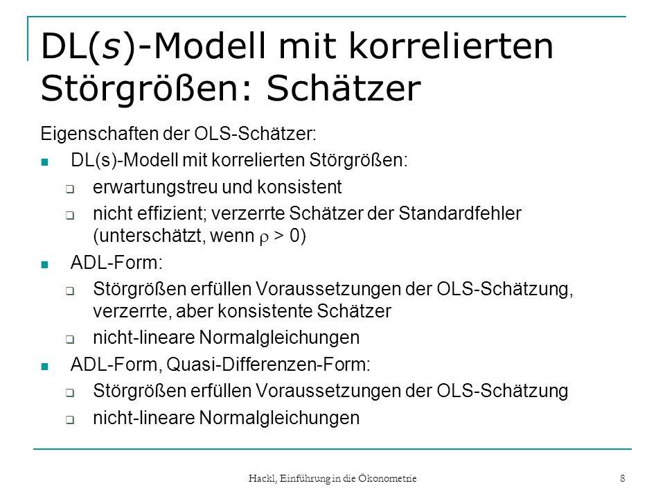 Hackl, Einführung in die Ökonometrie 19 Koycksche Lagstruktur: Schätzen der Parameter DL (distributed lag)- oder MA (moving average)-Form des Modells Y t = + i i X t-i + u t Schätz-Problem: Historische Werte X 0, X -1, X -2,… sind unbekannt.